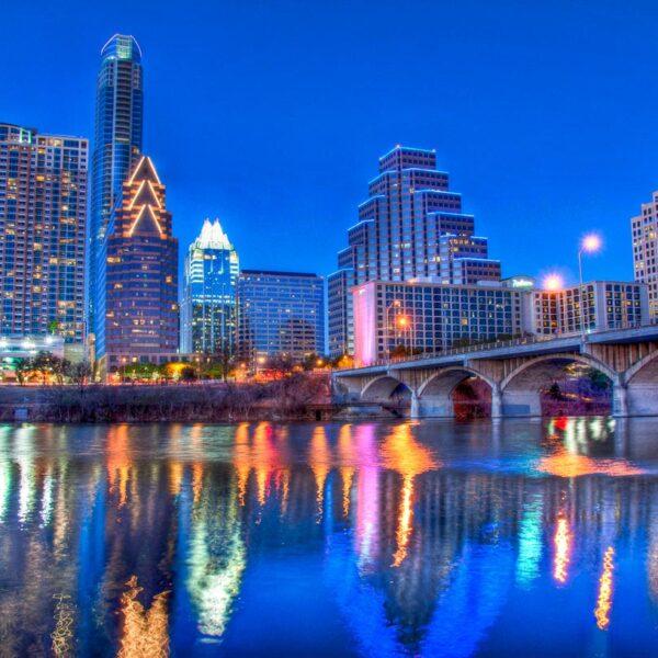 Austin Texas night time skyline